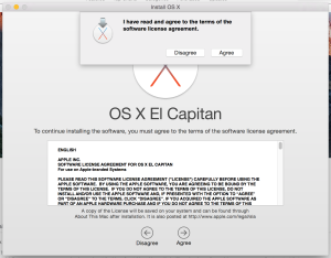 OS X El Capitan License dialog