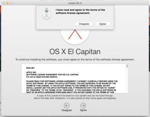 OS X El Capitan License dialog